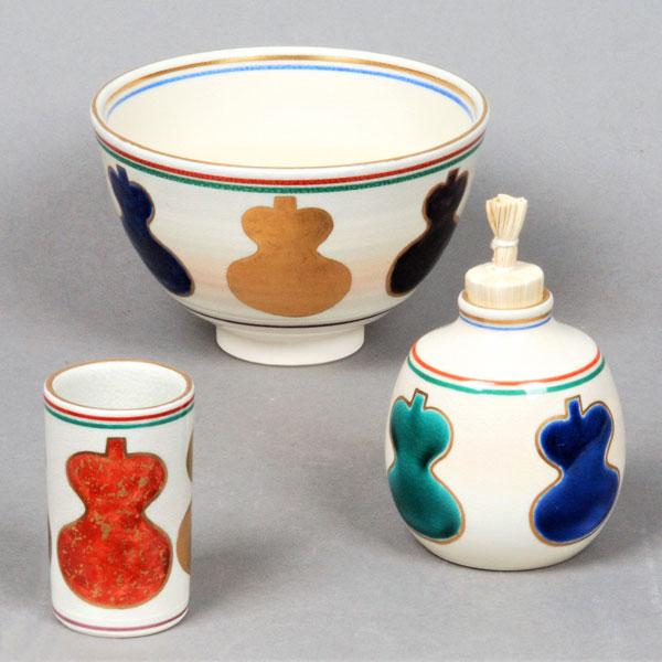 【茶道具 茶箱】茶箱用三点セット(茶碗・振出・茶巾筒)仁清 六瓢 桐鳳作
