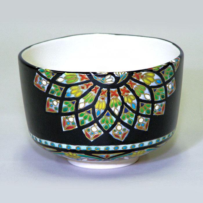 【茶道具 抹茶碗】茶碗 ステンドグラス 御題 光 清閑寺窯