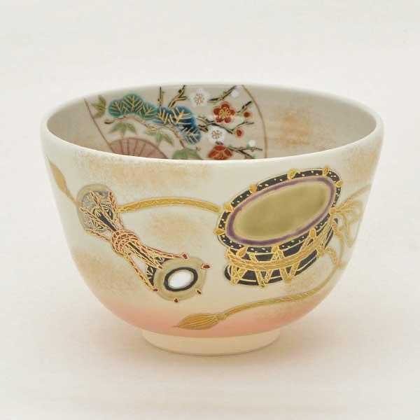 【茶道具 抹茶碗】茶碗 色絵 太鼓に松竹梅 加藤永起作