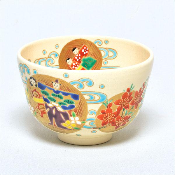 茶道具 抹茶碗 色絵 流し雛