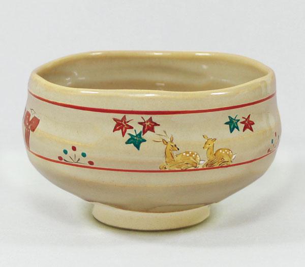 茶道具 抹茶碗 奈良絵 鹿に紅葉 昭山窯作