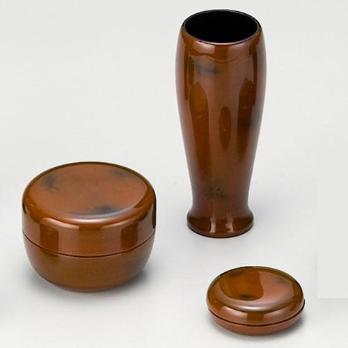 茶道具 茶箱 茶箱道具三点セット(棗・香合・茶筅筒) 根来(木製)