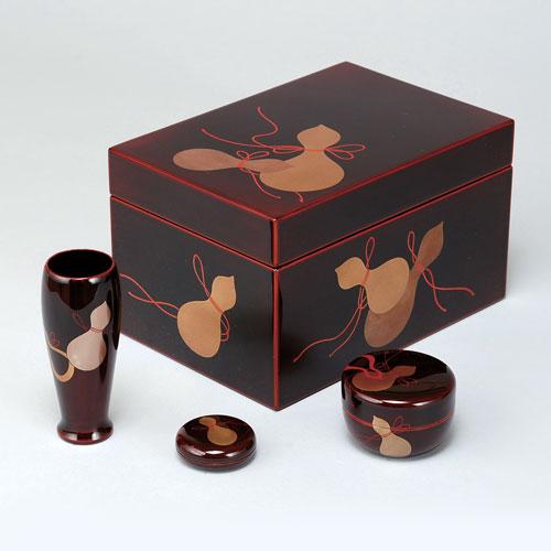 茶道具 茶箱 茶箱セット 溜 六瓢 (棗・香合・茶筅筒付き) 土居義峰作