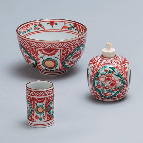 茶道具 茶箱 茶箱用三点セット(茶碗・振出・茶巾筒)赤絵 高野昭阿弥作
