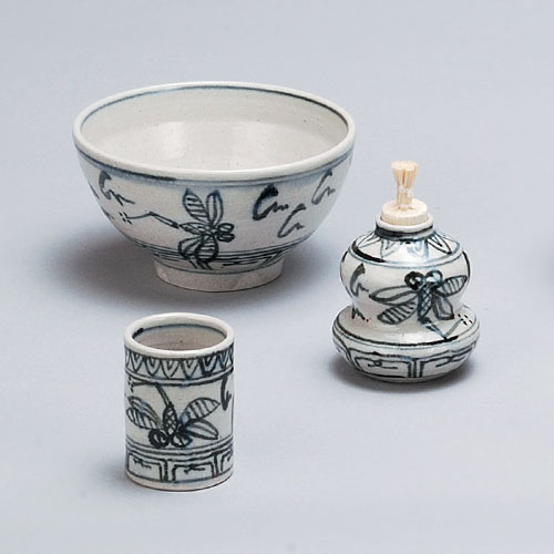 茶道具 茶箱 茶箱用三点セット(茶碗・振出・茶巾筒) 安南蜻蛉暁楽窯作