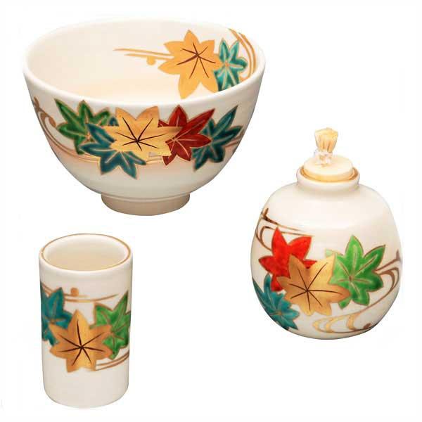 茶道具 茶箱 茶箱用三点セット(茶碗・振出・茶巾筒)仁清 楓流 桐鳳作
