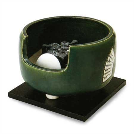 茶道具 電熱風炉/ヤマキ電気 道安風炉 織部 (電気炭、敷板、まえかわらけ付き) 強弱切替スイッチ付