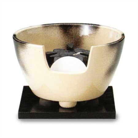 【茶道具 電熱風炉/ヤマキ電気】紅鉢風炉 雲華 強弱切替スイッチ付き(電気炭、敷板、まえかわらけ付き)