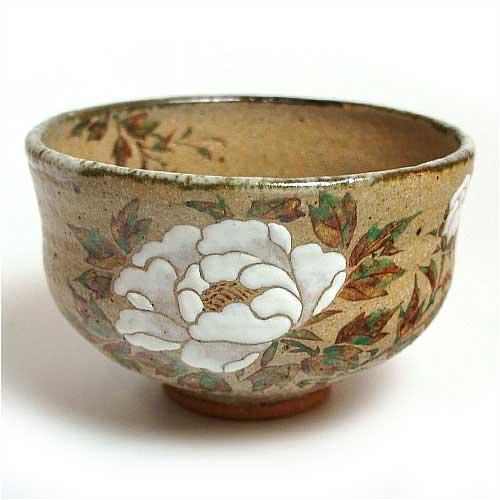 茶道具 抹茶碗 灰釉茶碗 牡丹 中村良二作