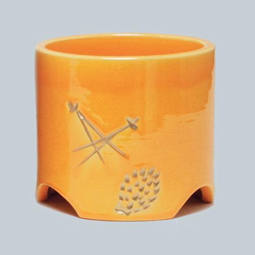 茶道具 火入 黄釉 松葉 松楽窯作