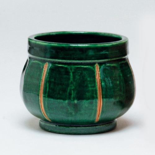 茶道具 火入 袋形 青楽 川崎和楽作