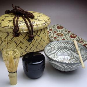 【茶道具 茶籠セット】 小判型茶籠セット 白竹