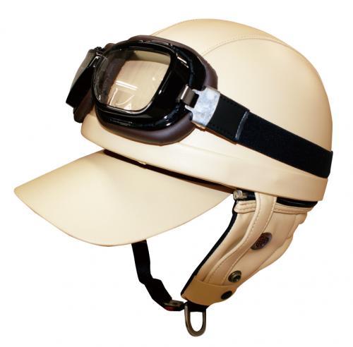 【DAMMTRAX[ダムトラックス]】 バンディット アイボリー ゴーグル付 バイク用 ヘルメット