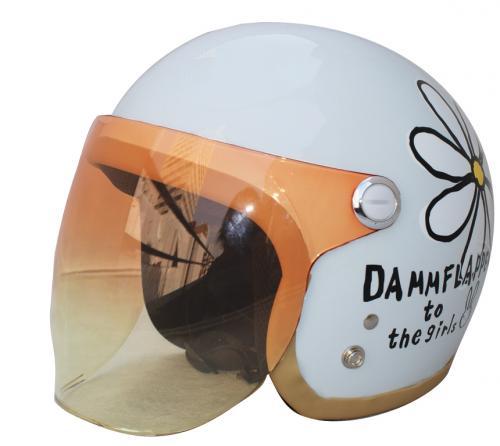 レディース用 ヘルメット【DAMMTRAX[ダムトラックス]】 フラワージェット パールホワイト 白 バイク用 ヘルメット 女性用