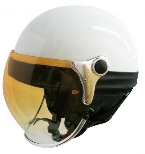 ヘルメット【DAMMTRAX[ダムトラックス]】 バブルビーハーフ パールホワイト バイク用 ヘルメット