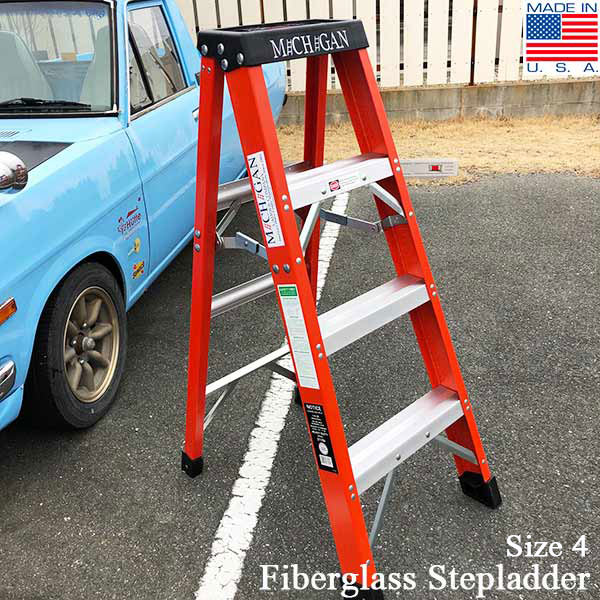Fiberglass Stepladder Size 4 ファイバーグラスステップラダー サイズ4 michigan ladder ミシガンラダー社 脚立 アメリカ Detail