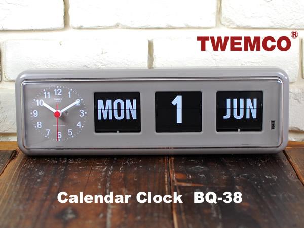 TWEMCO Calender Clock BQ-38 Gray トゥエンコ社カレンダークロック グレー フィリップ時計 パタパタクロック レトロ ミッドセンチュリー DETAIL