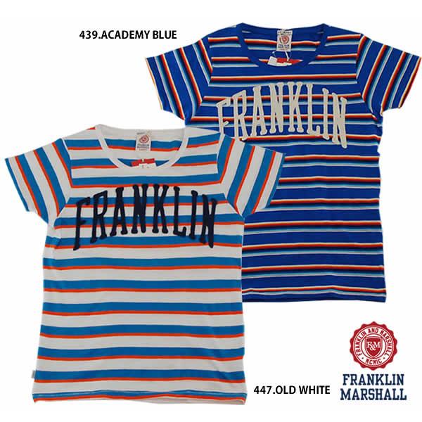 FRANKLIN MARSHALL フランクリン マーシャル 39181-4044 フエルト 刺繍 ロゴボーダーTシャツ 半袖 メンズ イタリア