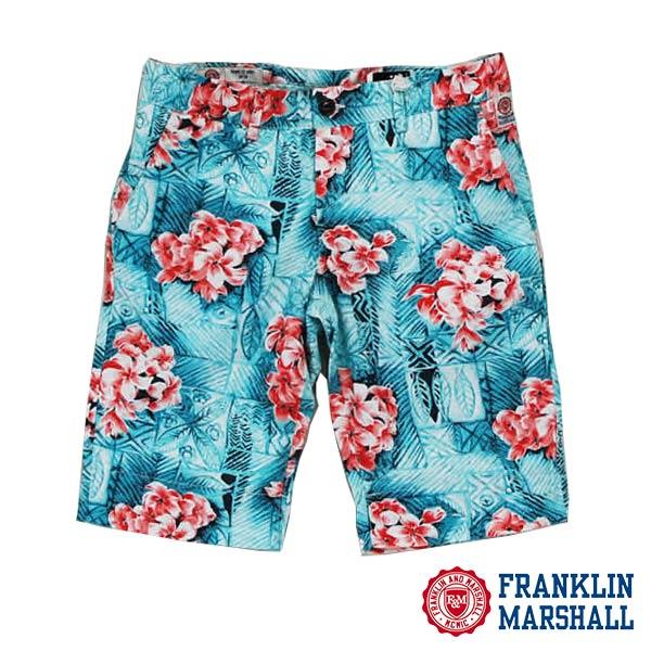 FRANKLIN MARSHALL フランクリン マーシャル41181-2097 アロハ柄 ストレッチハーフパンツ 花柄 ハワイ 短パン メンズ ブルー