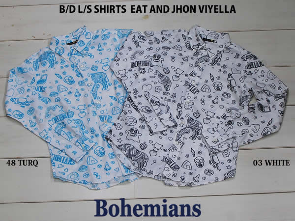 BOHEMIANS(ボヘミアンズ)EAT AND JOHN VIYELLA B.D L/S SHIRTS 長袖シャツ UNISEX カラー(SAX・WHITE)