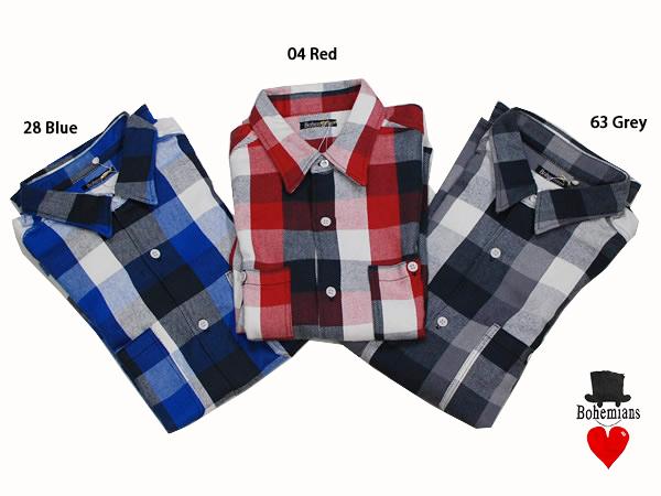 BOHEMIANS(ボヘミアンズ)BLOCK CHECK 2P L/S SHIRTS 厚手 長袖シャツ S・M・Lサイズ ブルー・レッド・ブラック