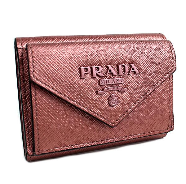 プラダ 三つ折り財布 ミニ財布 サフィアーノ 極美品 ピンク 1MH021 k928 【中古】