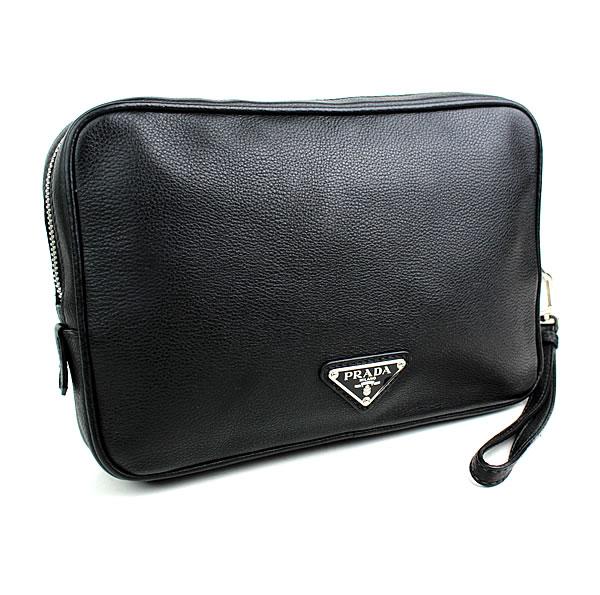 プラダ セカンドバッグ クラッチバッグ 黒 PRADA 極美品 k945 【中古】