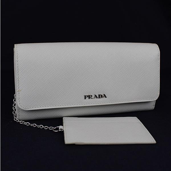 プラダ カードチェーン付き長財布 PRADA 1MH006 サフィアーノ ホワイト 極美品 k111 【中古】