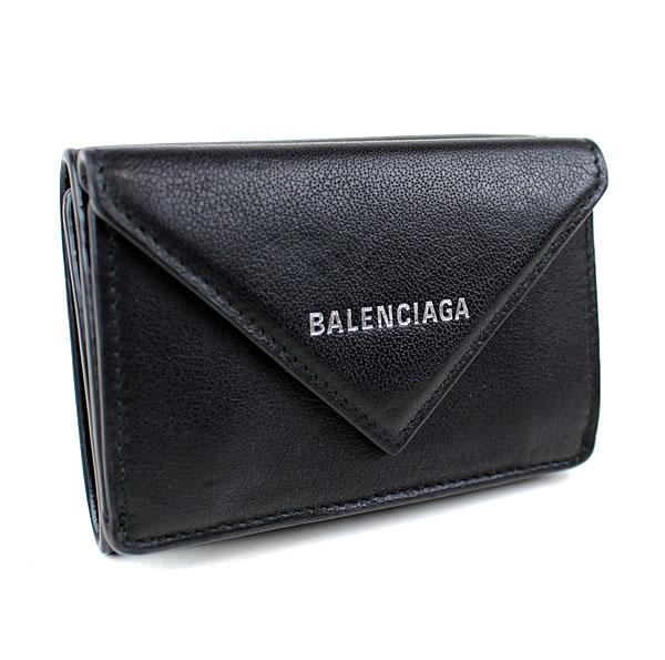 バレンシアガ ミニ財布 財布 三つ折り財布 黒 ペーパーミニウォレット 美品 k707 【中古】
