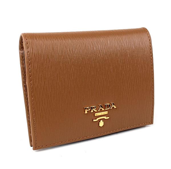 プラダ 二つ折り財布 ブラウン ミニ財布 PRADA 1MV204 新品同様 k711 【中古】