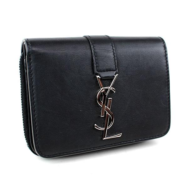 サンローランパリ 二つ折り財布 コンパクトジップ ラウンドジップ ブラック 極美品 k403 【中古】