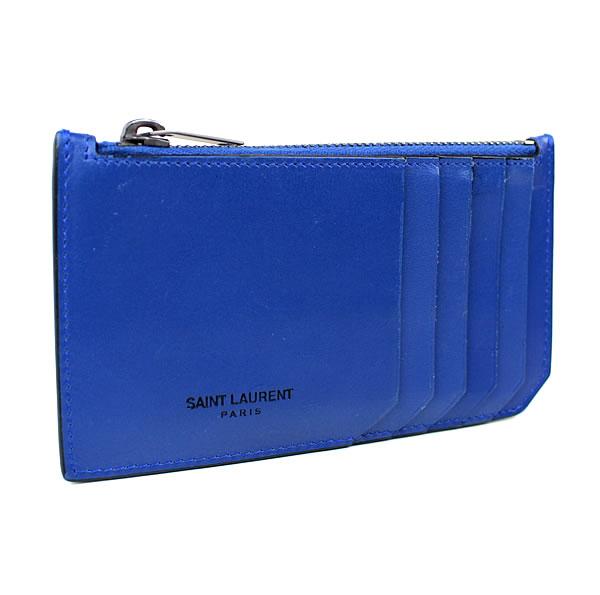 サンローラン コインケース 小銭入れ カードケース カード入れ ブルー 美品 k450 【中古】