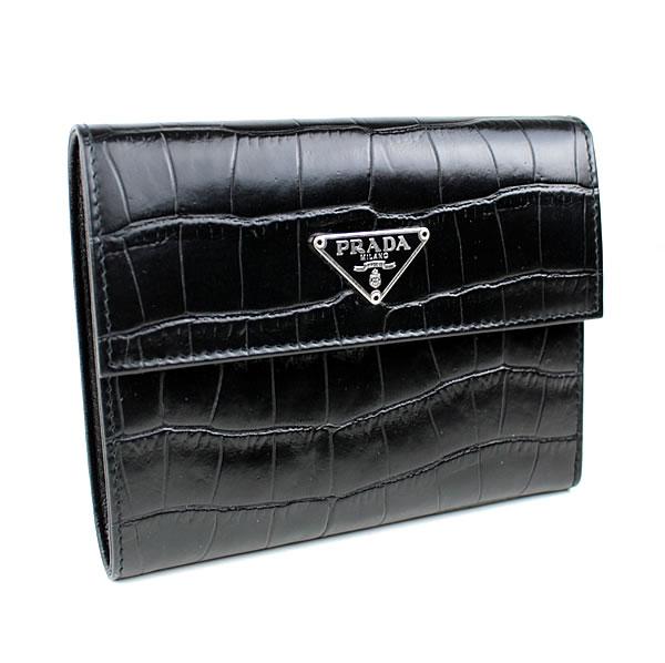 プラダ 三つ折り財布 極美品 黒 1M0170 PRADA k462 【中古】