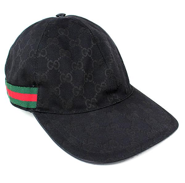 グッチ 帽子 キャップ ブラック GUCCI GGキャンバス 新品同様 k523 【中古】