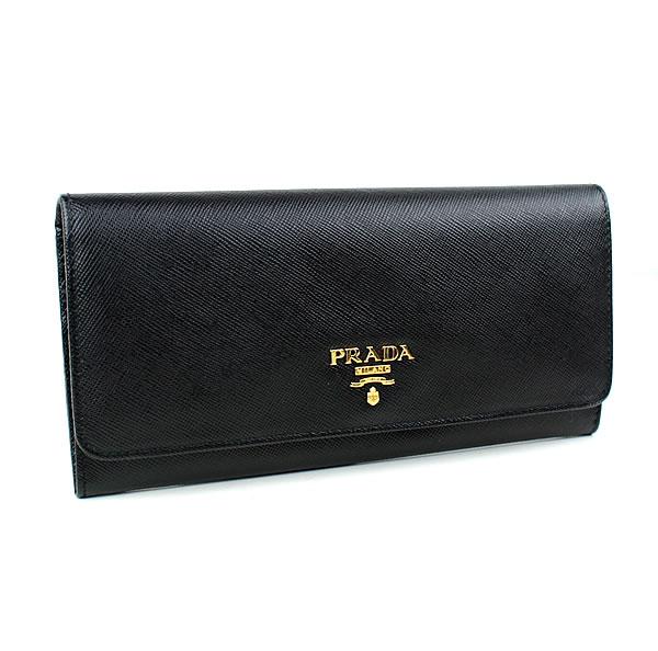プラダ 長財布 PRADA 1M1132 ブラック 二つ折り長財布 新品同様 k568 【中古】