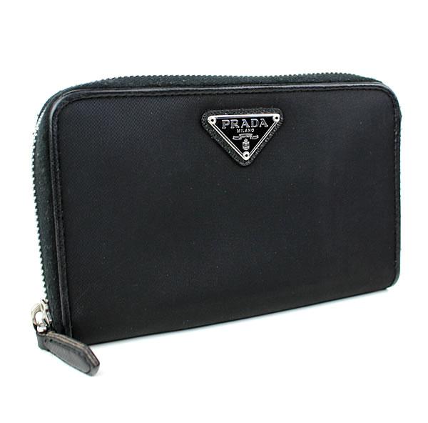プラダ ラウンドジップ PRADA ブラック 二つ折り財布 美品 ミニ財布 k571 【中古】