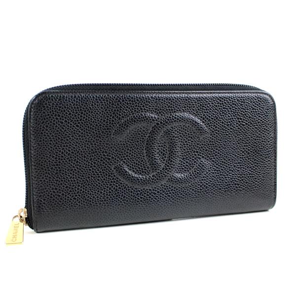 シャネル ラウンドファスナー長財布 キャビアスキン ブラック 数量は多 推奨 n89 美品 中古 CHANEL