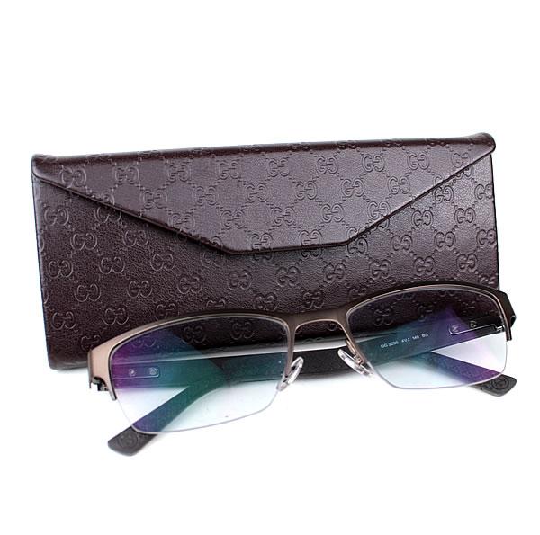 グッチ メガネ 眼鏡 めがね ブロンズ×グレー 度入り k656 【中古】