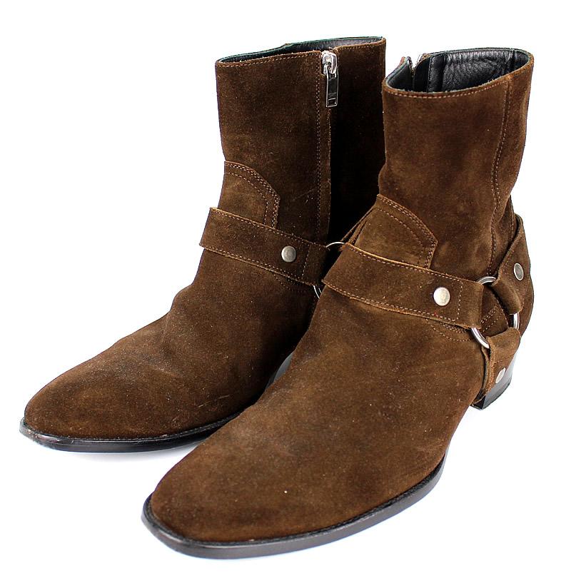 サンローラン ブーツ ブーティー お気に入 スエード z0178 中古 在庫処分 ブラウン サイズ41
