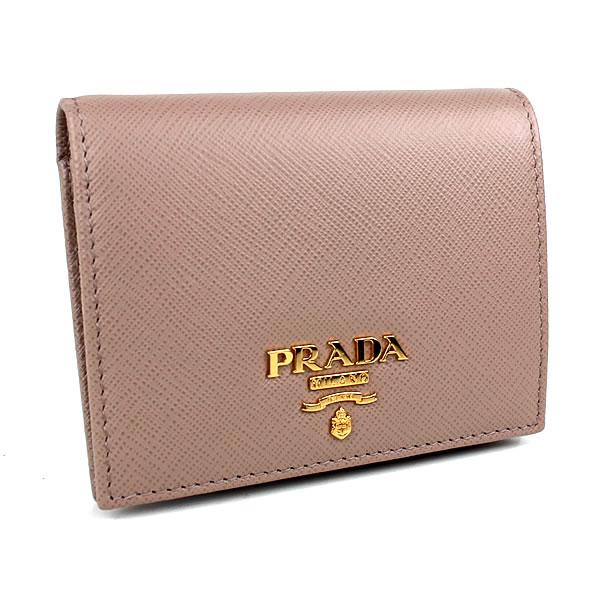 プラダ 二つ折り財布 ベージュ PRADA 1MV204 新品同様 k1 【中古】