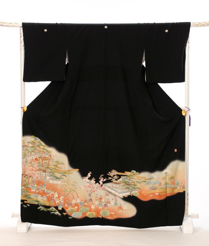 【レンタル】 黒留袖レンタルフルセット 8AA15 高級 留袖レンタル 黒留袖 着物 結婚式 貸衣装 留袖レンタル 着物レンタル 大名行列 149cm~170cm位まで 足袋・肌着プレゼント 往復送料無料