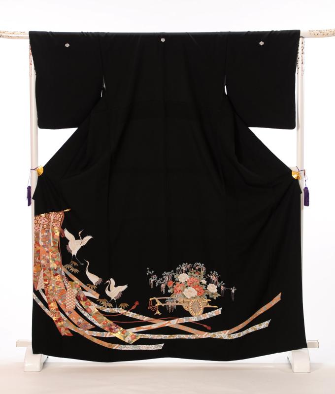 【レンタル】黒留袖レンタルフルセット8AA32 レンタル留袖 着物レンタル 着物 結婚式 貸衣装 熨斗流れ 鶴 149cm~169cm位まで 足袋・肌着プレゼント 往復送料無料