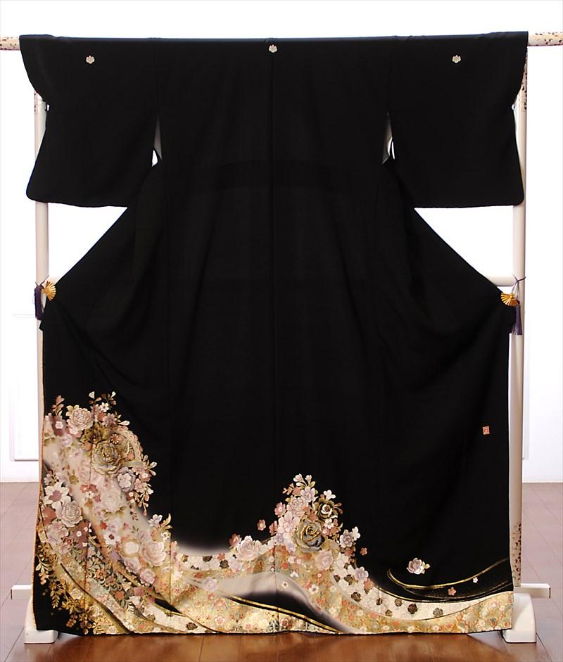 【レンタル】留袖 レンタル 黒留袖 着物レンタル 結婚式 花の訪れ 桂由美 150cm~170cm位まで 足袋・肌着プレゼント レンタル着物 往復送料無料 8AA49