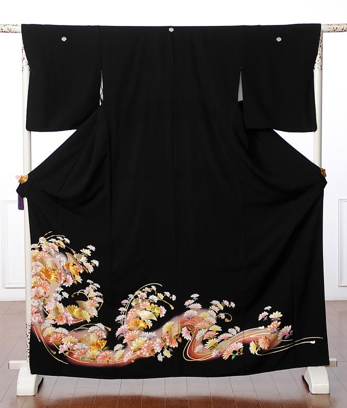 【レンタル】黒留袖レンタルフルセット8AA11 レンタル留袖 着物レンタル 華やか 着物 結婚式 貸衣装 扇菊 149cm~170cm位まで 足袋・肌着プレゼント 往復送料無料
