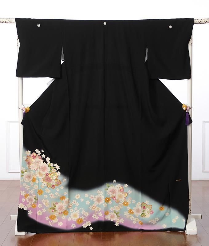 【レンタル】黒留袖レンタルフルセット8AA27 トールサイズ レンタル留袖 着物レンタル 背の高い方 着物 結婚式 貸衣装 桜 二段暈し 160cm~177cm位まで 足袋・肌着プレゼント 往復送料無料
