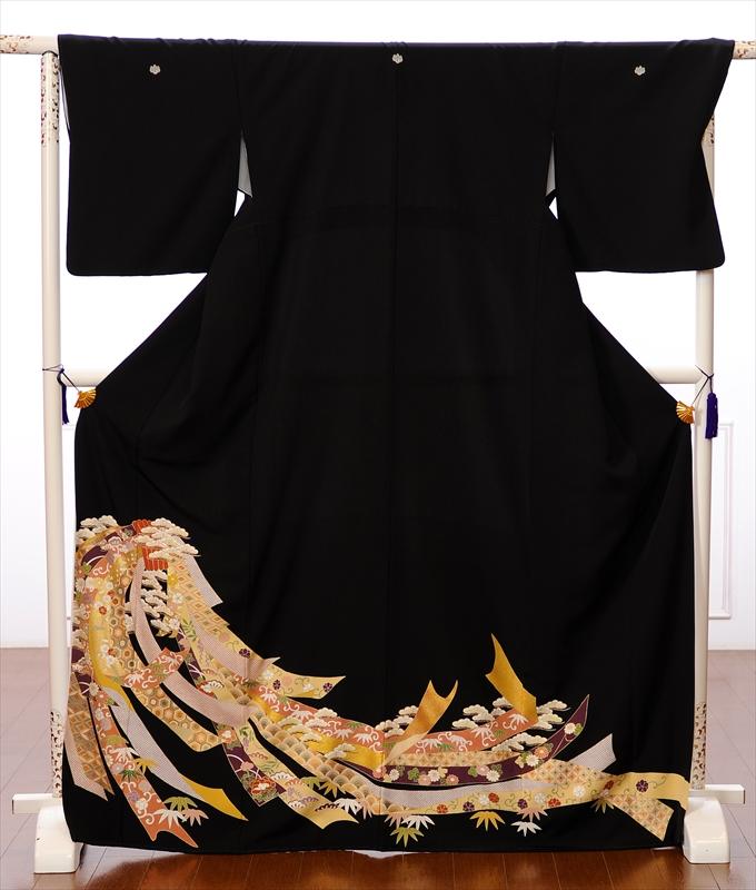 【レンタル】留袖 レンタル 黒留袖 フルセット レンタル留袖 着物レンタル 着物 結婚式 貸衣装 束ね熨斗 金彩友禅 150cm~170cm位まで 足袋・肌着プレゼント 8AA88 往復送料無料