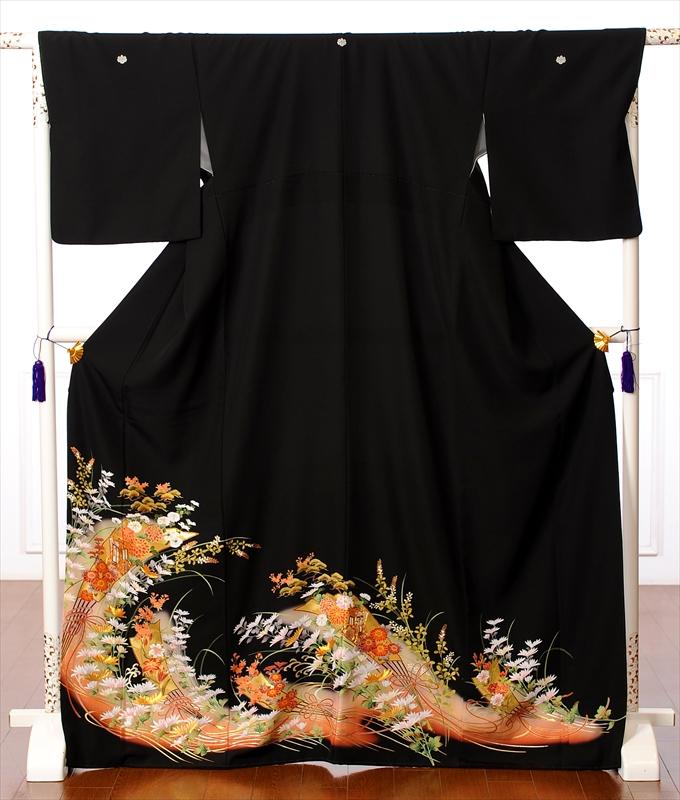 【レンタル】黒留袖レンタルフルセット8AA85 レンタル留袖 着物レンタル 黒留袖 着物 レンタル 結婚式 貸衣装 妃扇 金彩 150cm~170cm位まで 足袋・肌着プレゼント 往復送料無料