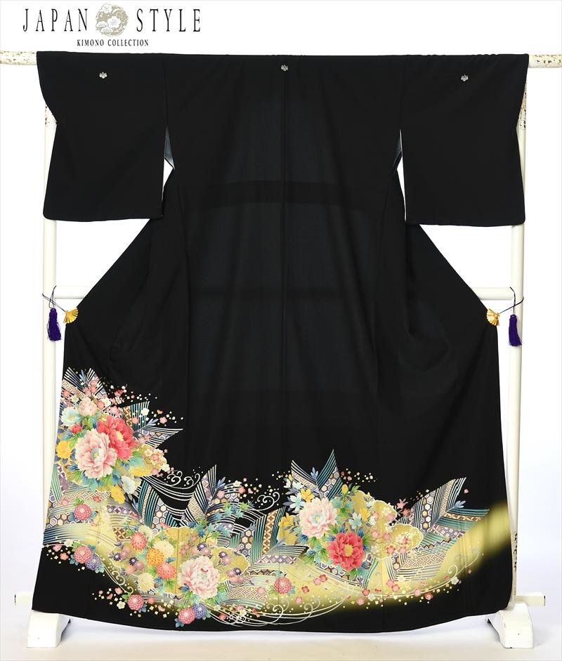 ジャパンスタイル japanstyle 留袖 レンタル 留袖レンタル 着物レンタル レンタル着物 黒留袖レンタルフルセット8AA158 結婚式 江戸妻 牡丹 母親 149cm~167cm位まで 足袋 肌着プレゼント