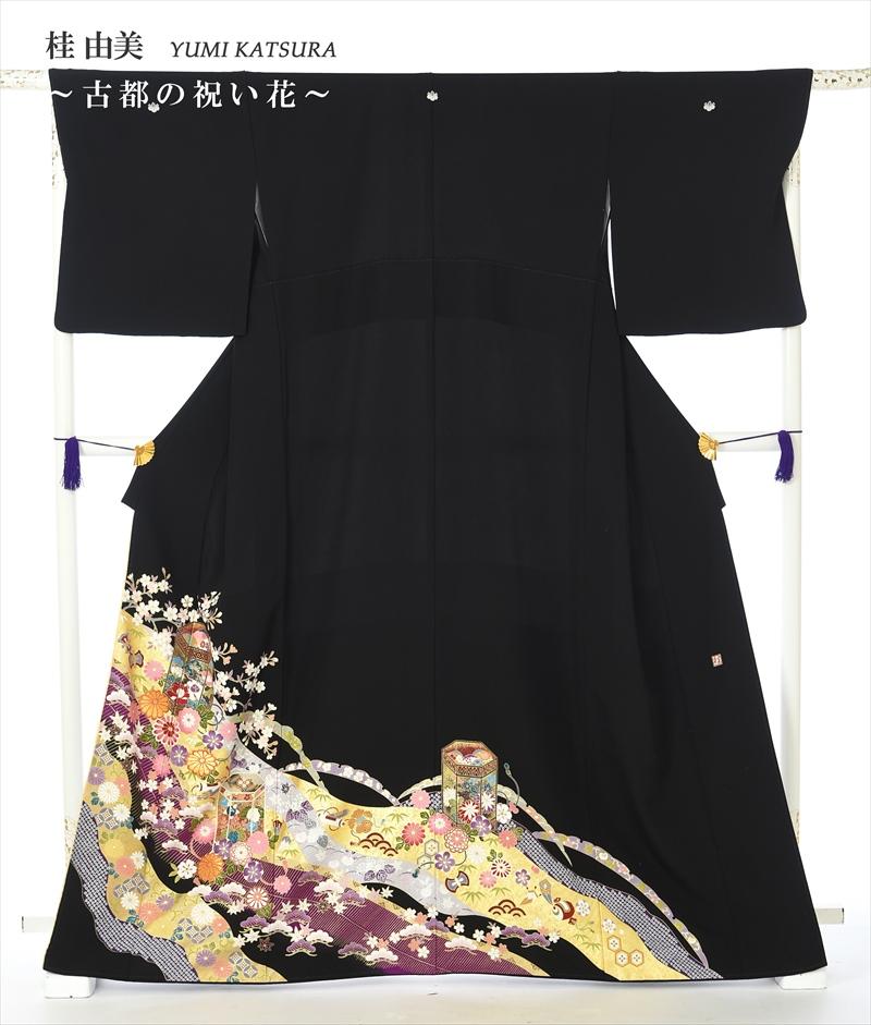 桂由美 YUMI KATSURA 留袖レンタル 留袖 レンタル 黒留袖レンタルフルセット 8AA165 結婚式 江戸妻 古都の祝い花 母親 149cm~170cm位まで