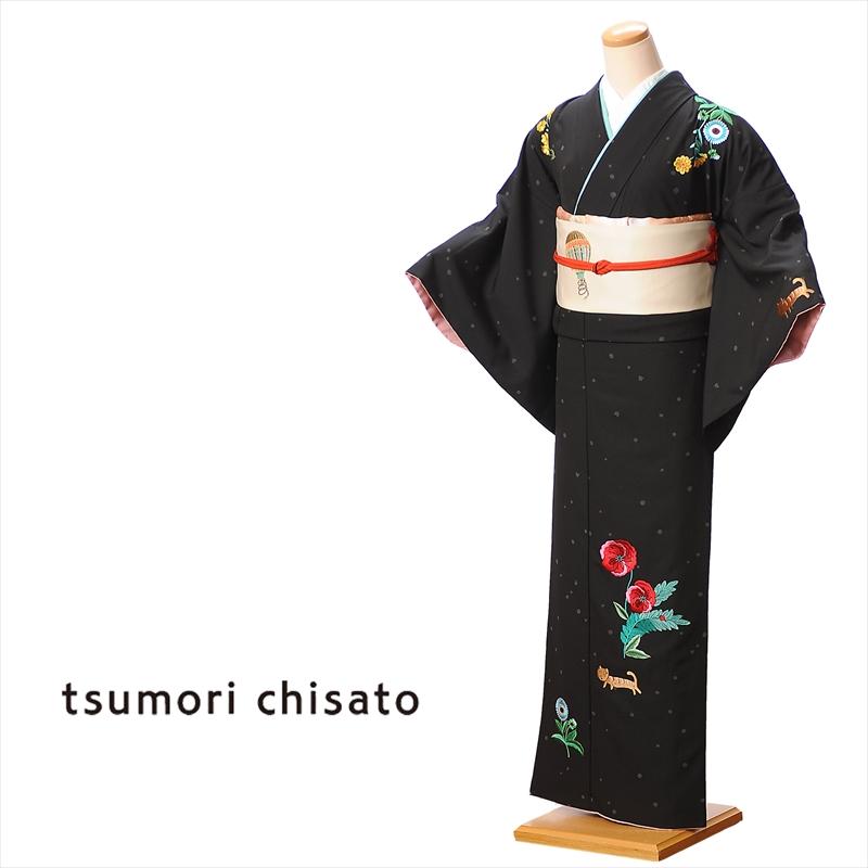 【レンタル】訪問着 レンタル ツモリチサト tsumori chisato レンタル訪問着 貸衣装 黒 ブスネコ レンタルフルセット8AD82 149cm~167cm位まで 足袋・肌着プレゼント 往復送料無料